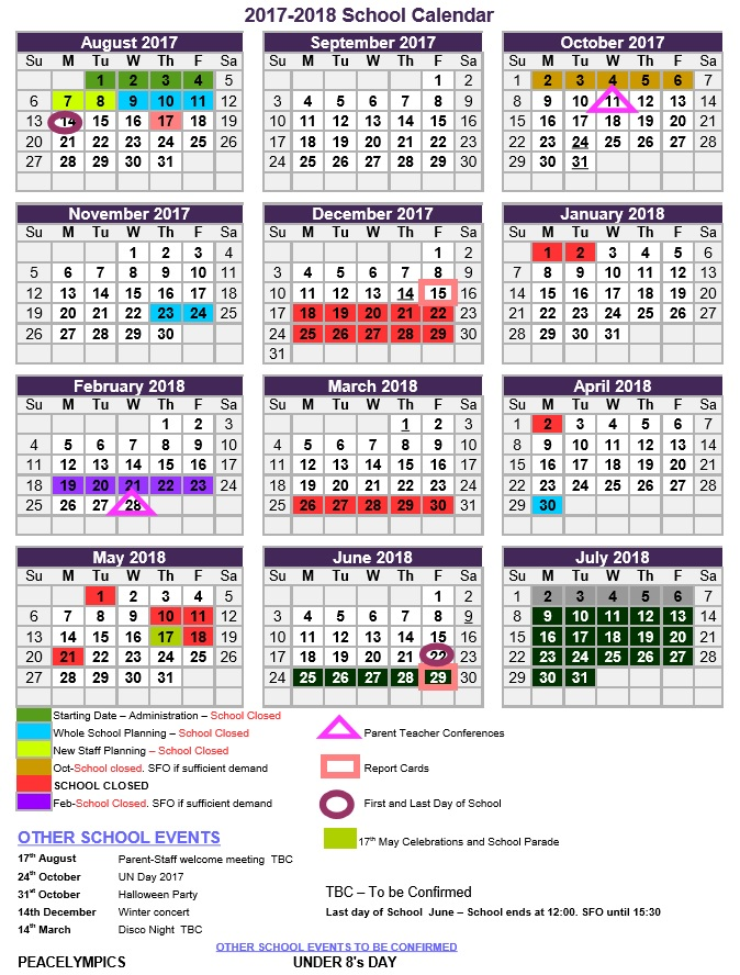 Calendar For  Now Available  Asker International School